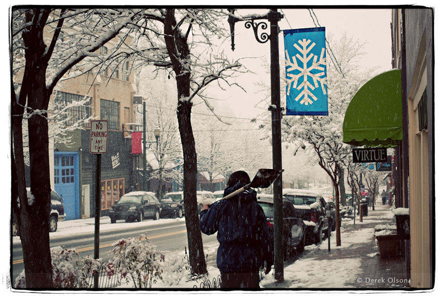 Another snowy day in downtown Asheville, NC