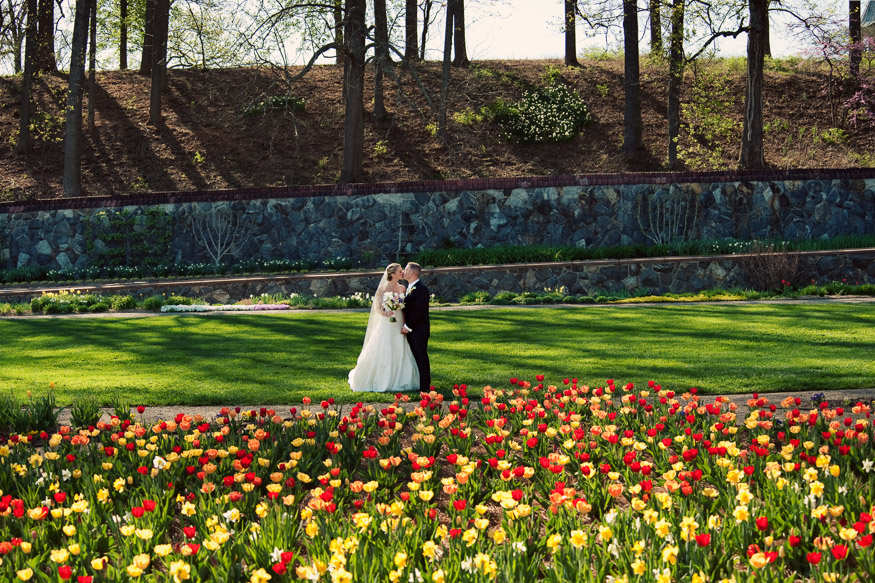 Portrait of bride and groom at Biltmore Estate