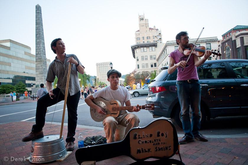 Downtown Asheville street musicians