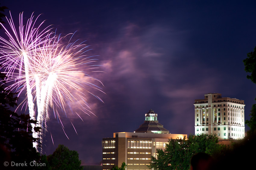 Downtown Asheville fireworks on 4th of July