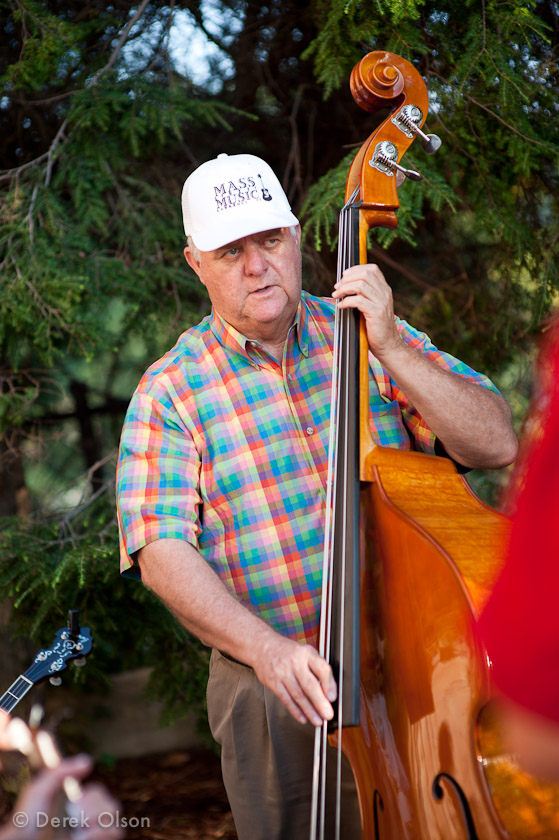 Stand up bass player in bluegrass band