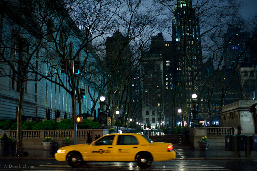 Taxi cab in the rain
